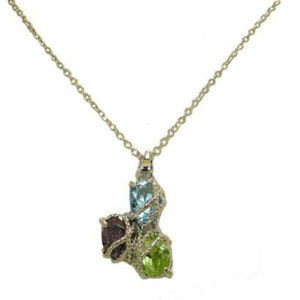 Twisted Cable white gold multi CZ pendant NWT